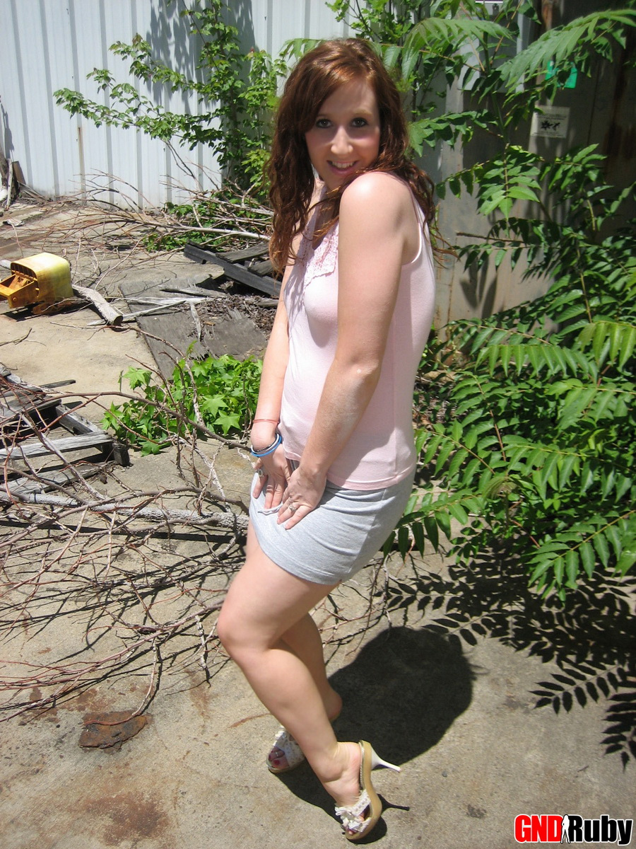 Slutty Redhead Teen Flashes Her Unshaved Pussy Outdoors - Picture 12